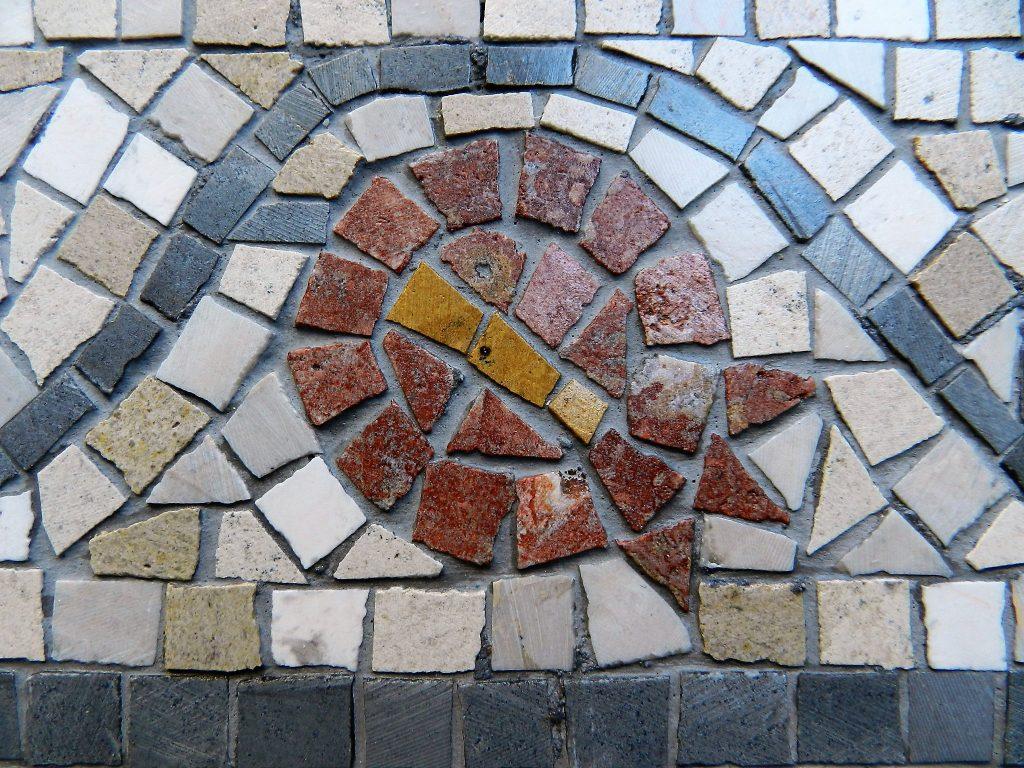 Love birds mosaic _ pomegranate detail.