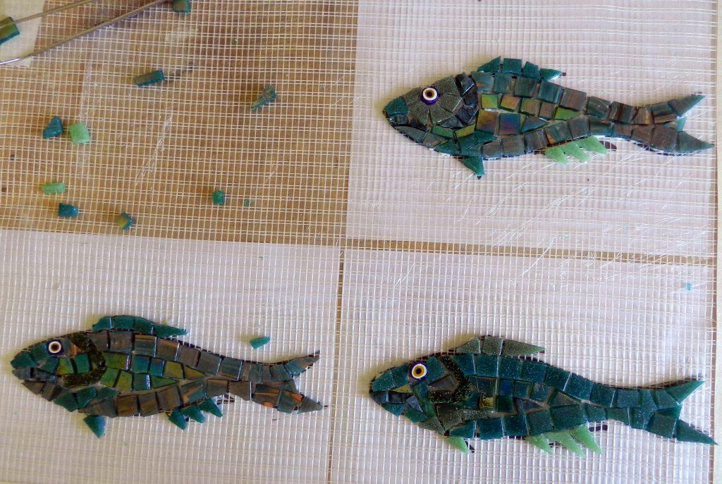 mosaic fish on mesh