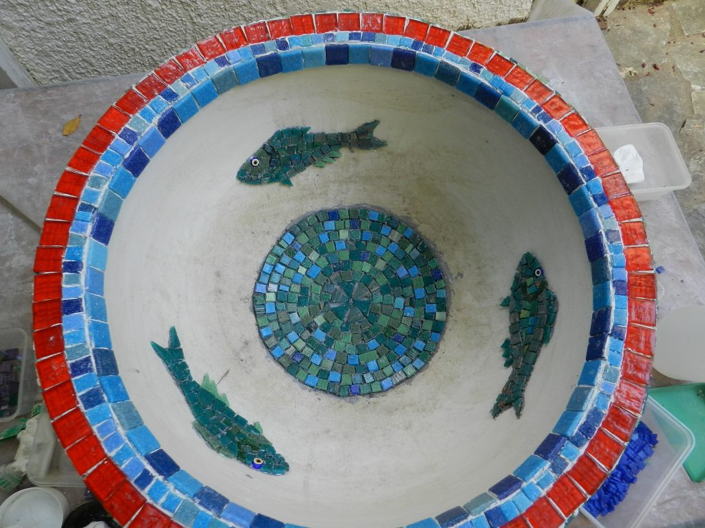 Mosaic garden urn _ work in progress
