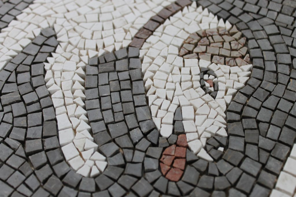 scary dog mosaic_detail of head