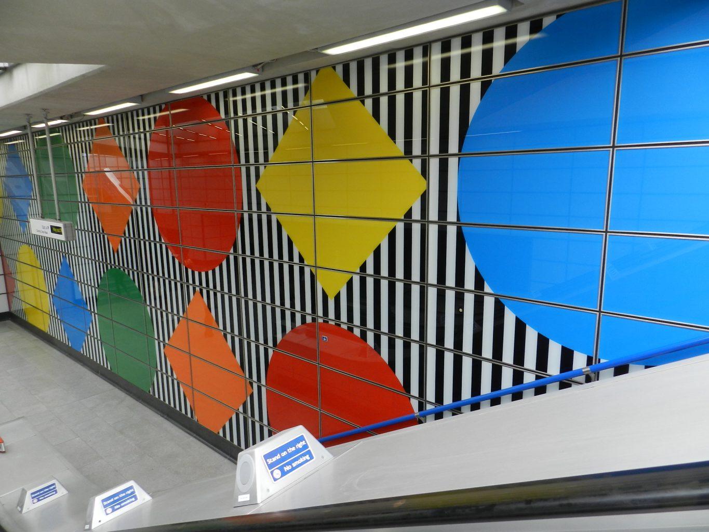 Daniel Buren design at Tottenham Court Tube station