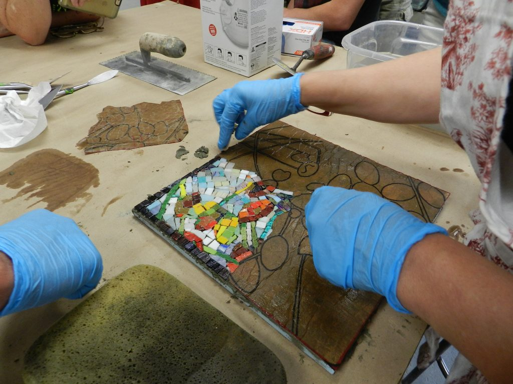 Chicago Mosaic School: revealing Melanie Berry's abstract flower mosaic.