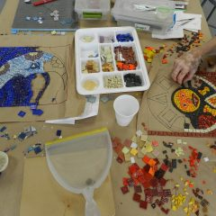 Chicago Mosaic School: sun and moon mosaics, works in progress.