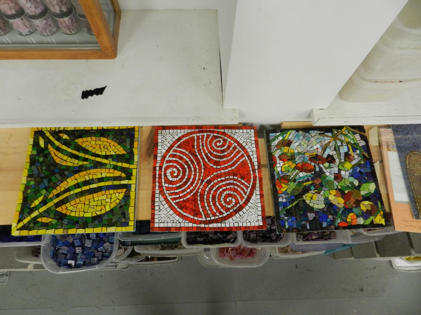 Chicago Mosaic School - students' works before grouting.