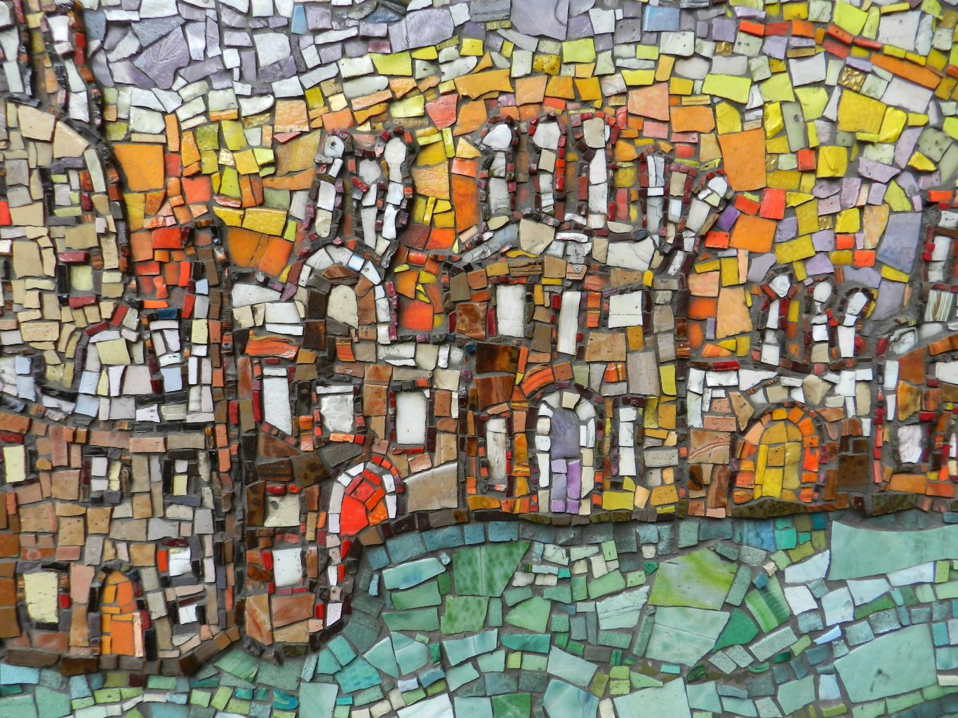 Jude Burkhauser mosaic detail, Glasgow Central Station. Mosaics of Scotland.
