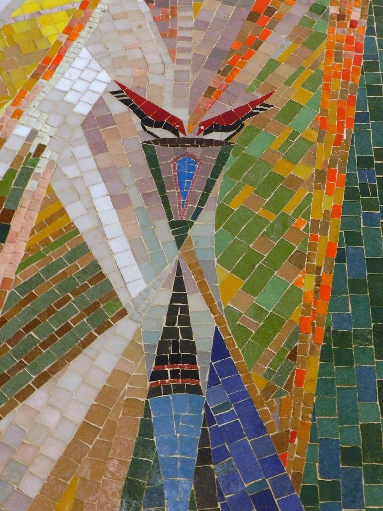 Tindal mosaic, bird detail, Edinburgh. Mosaics of Scotland.