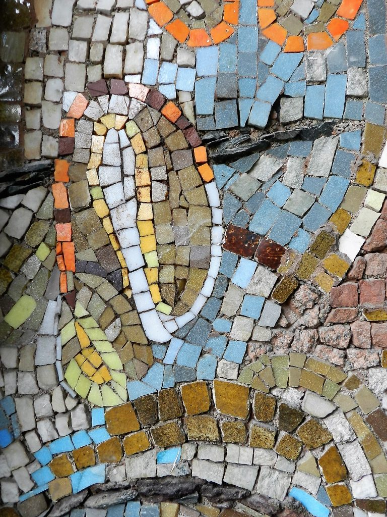 John Kingsley Cook mosaic detail, University of Edinburgh. Mosaics of Scotland.