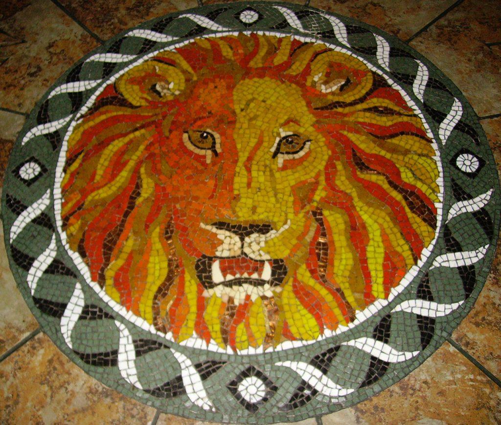 Lion head floor mosaic by Tamara Froud