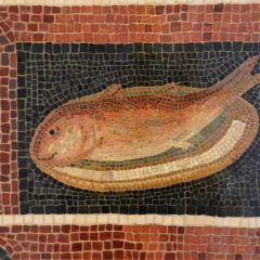 Art Institute of Chicago fish on a plate mosaic.
