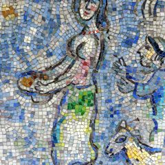 Marc Chagall's Four Season's mosaic detail of woman with a platter.