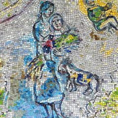 Mosaics in Chicago: Marc Chagall's Four Seasons mosaic_ harvest detail2.