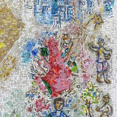 Mosaics in Chicago: Marc Chagall's Four Seasons mosaic_ cityscape detail.