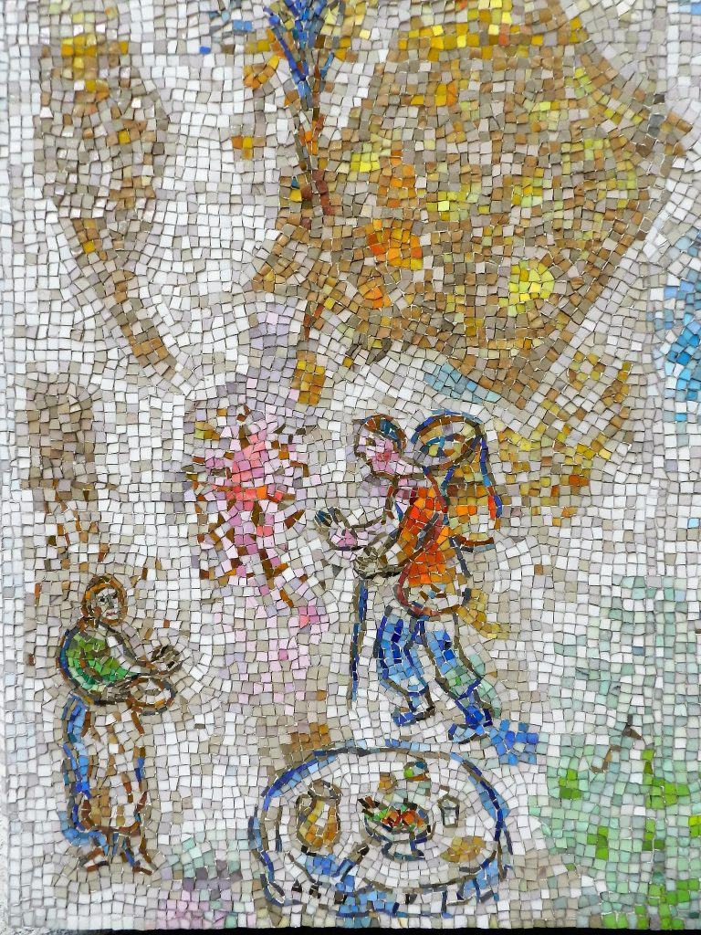 Mosaics in Chicago: Marc Chagall's Four Seasons mosaic_ picnic detail.