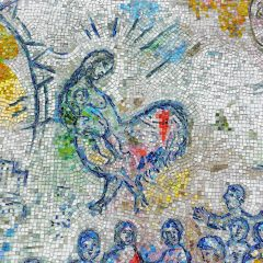 Marc Chagall's Four Seasons mosaic_ bird woman.