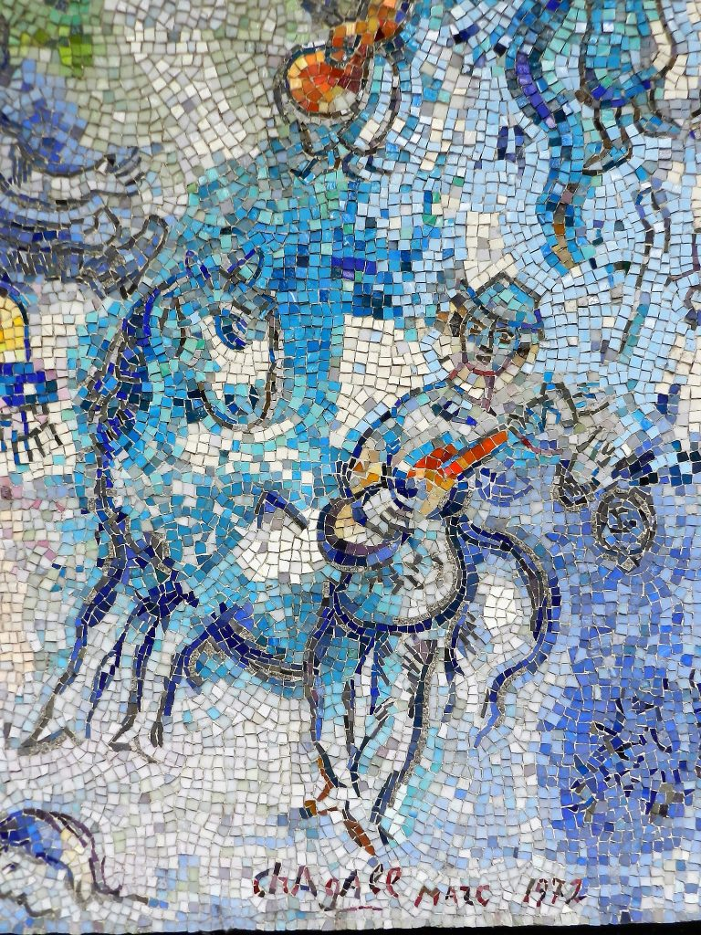 Marc Chagall's Four Seasons mosaic_ guitar player and horse.