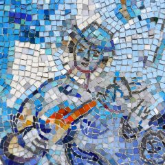Marc Chagall's Four Seasons mosaic_ guitar player detail.