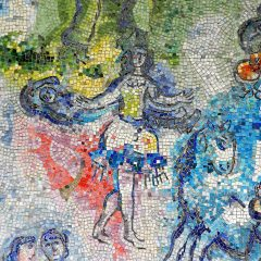 Marc Chagall's Four Seasons mosaic_ woman with tassel skirt.