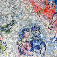 Marc Chagall's Four Seasons mosaic_ couple and bird.
