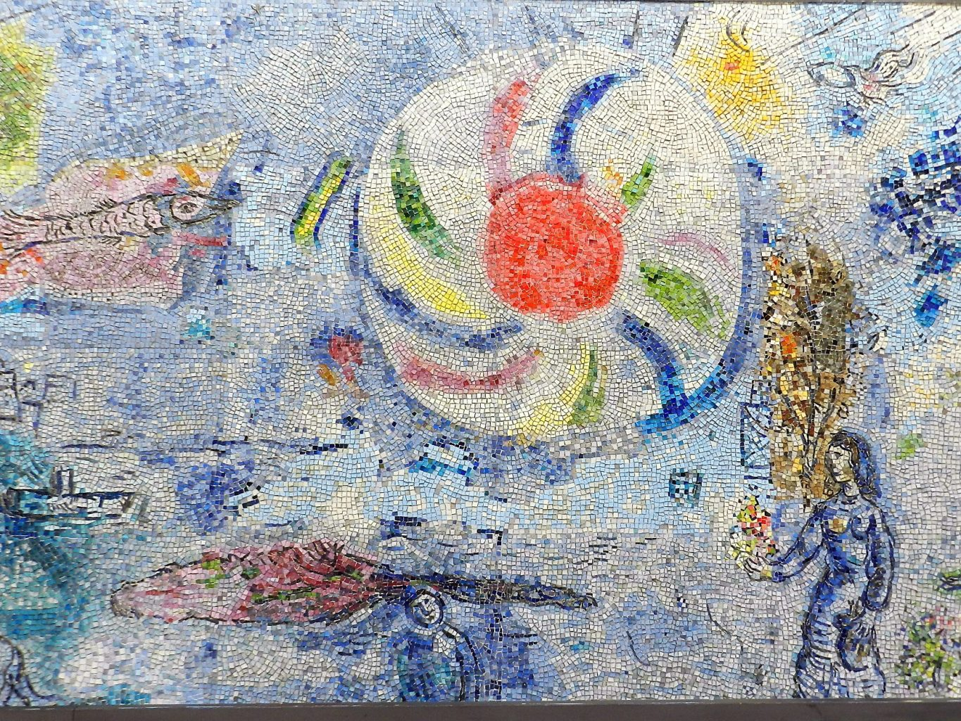 Marc Chagall's Four Seasons mosaic_ sun and background.