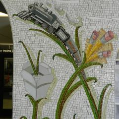 Mosaics in Chicago_Bachor's Thrive mosaic, Thorndale station, train detail.