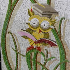 Mosaics in Chicago_Bachor's Thrive mosaic, Thorndale station, owl detail.