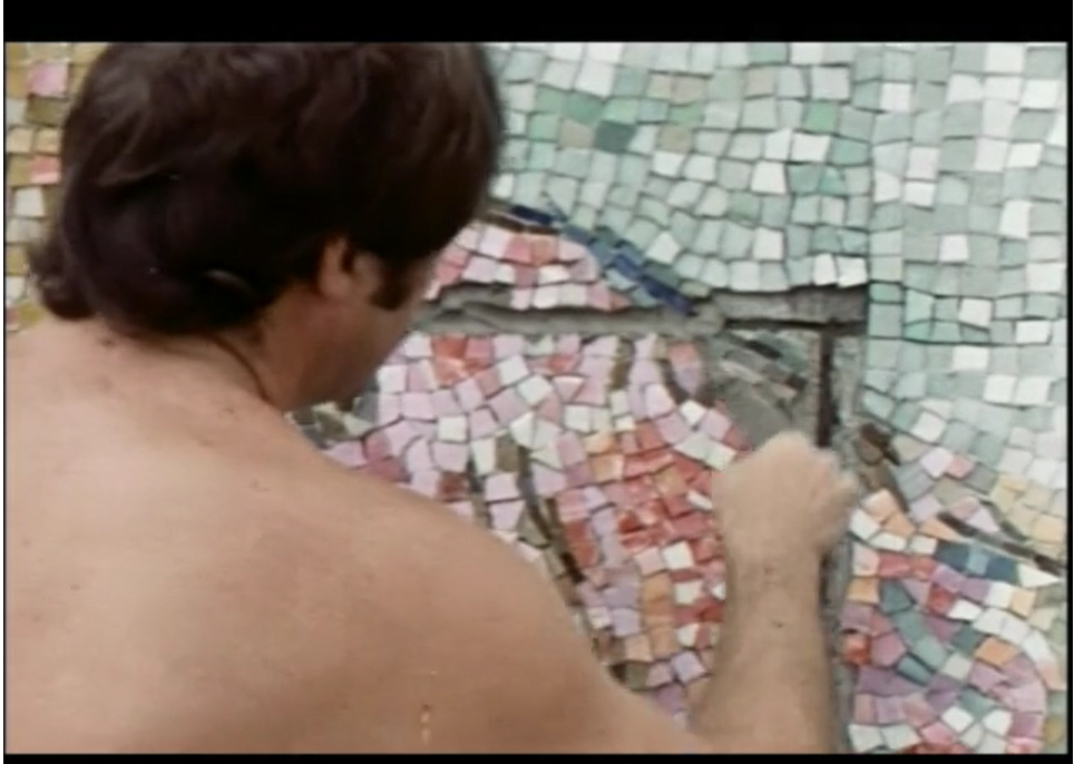Marc Chagall's Four Seasons mosaic: Chagall mosaic being installed.