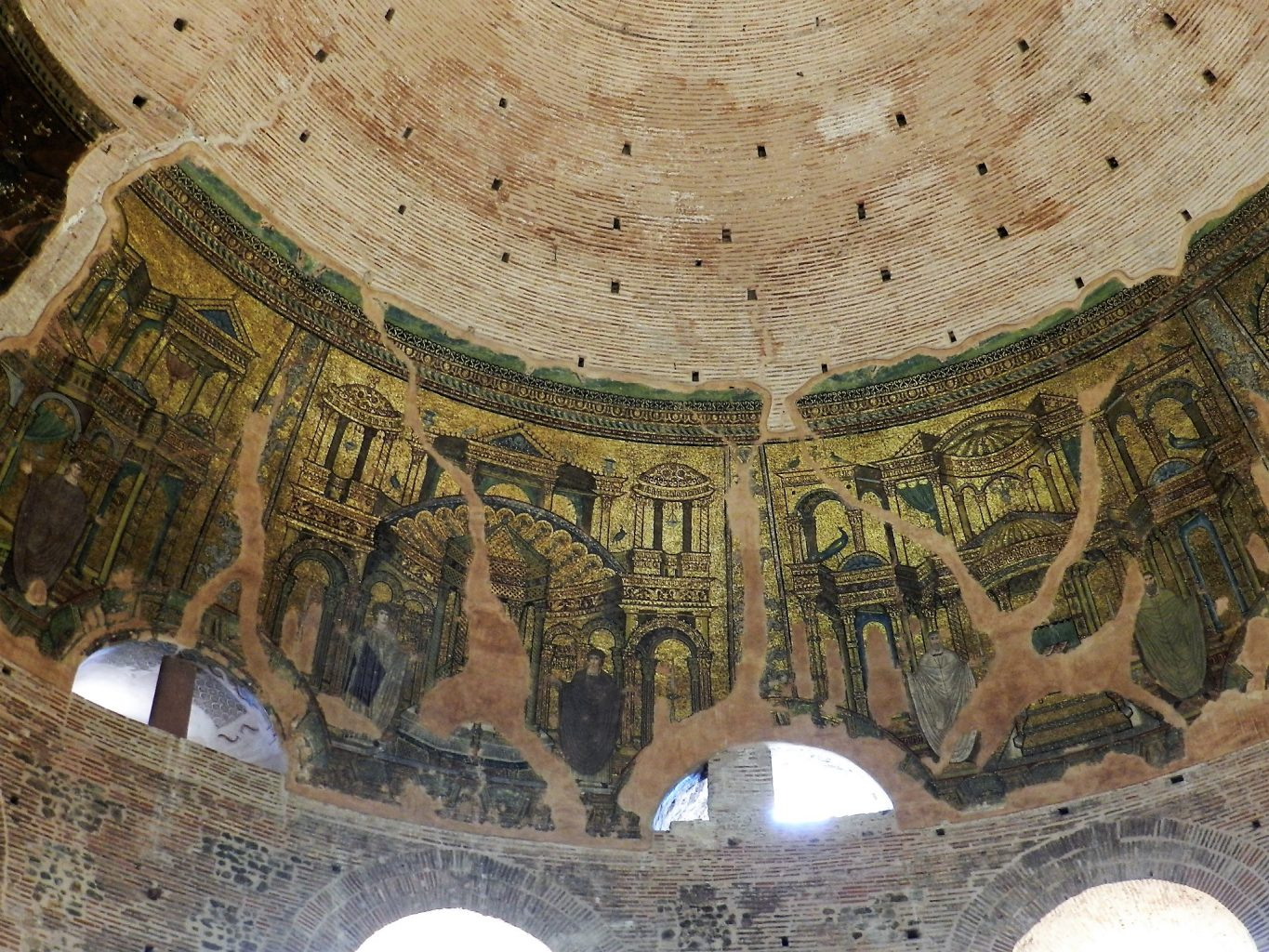 Rotunda mosaics _ dome with martyrs or sponsors and buildings.