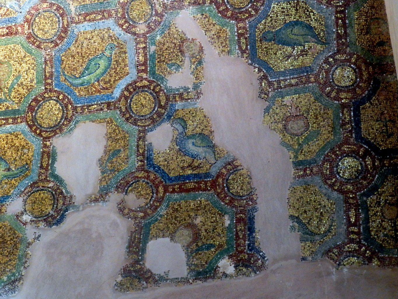 Rotunda mosaics _ arch decoration with birds and fruit.