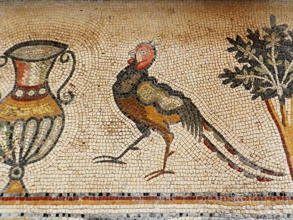 mosaic of bird and urn