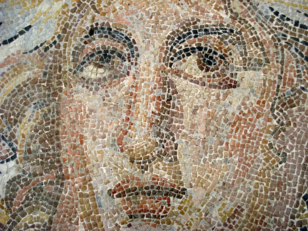 close up of mosaic face