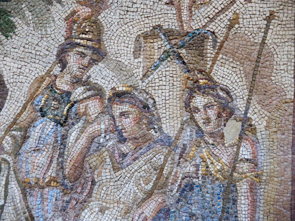 mosaic detail of three figures