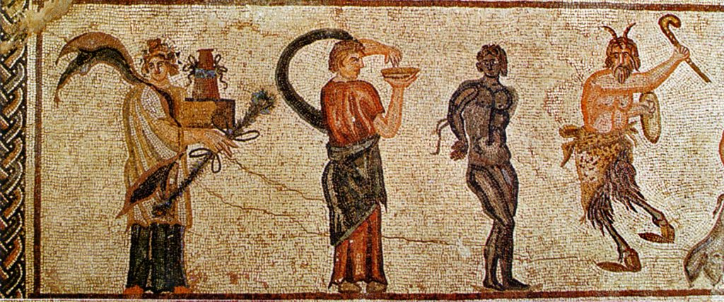 mosaic of black prisoner and other figures