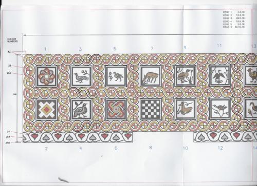 drawing of mosaic floor pelion